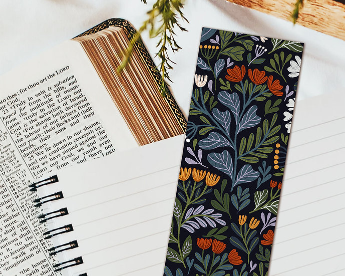 Spring Flowers Bookmark ~ black