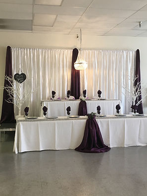 Backdrop and Head Table setup With Eggplant Waterfall Effect