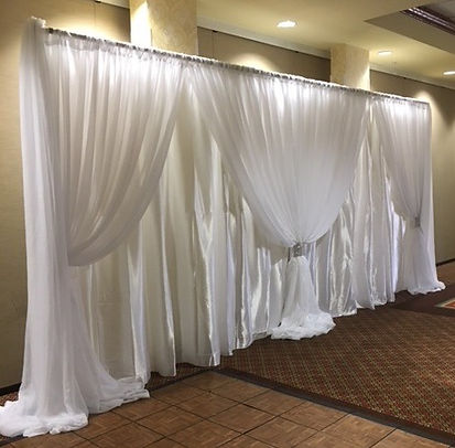 Double White Satin with White Voile Accents