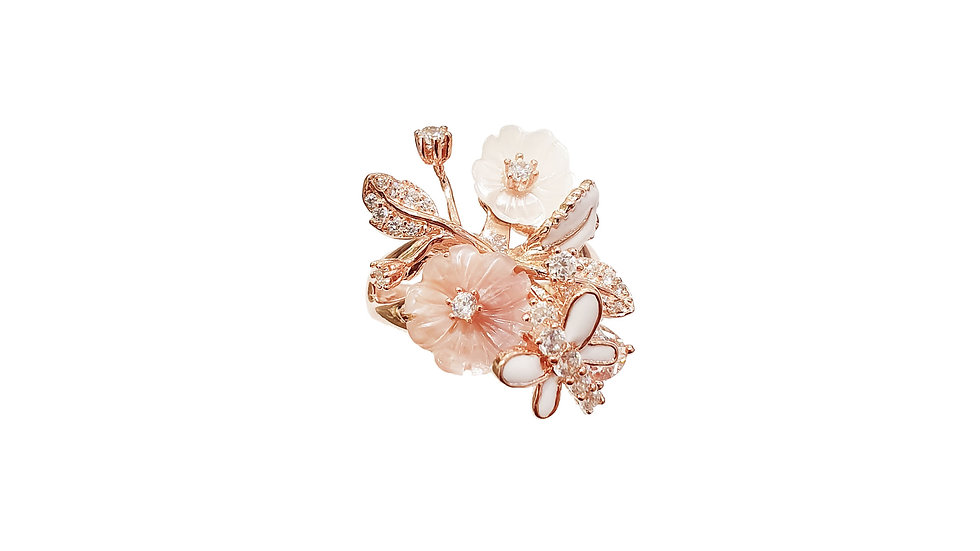 Belleza Flower and Butterfly ring