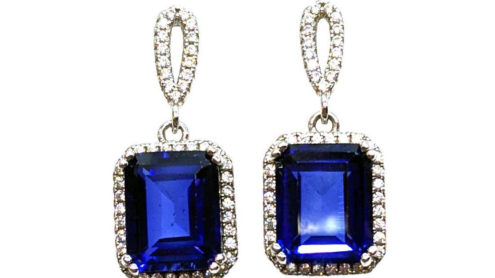 Created Sapphire drop earring
