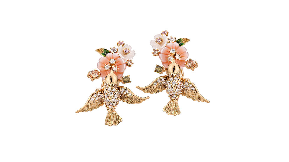 Bellezza Bird and flower small earrings