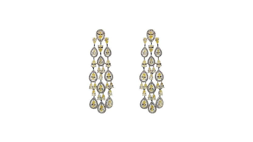 Yellow CZ drop earrings