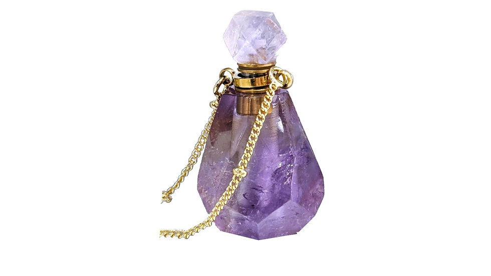 Amethyst Perfume bottle necklace