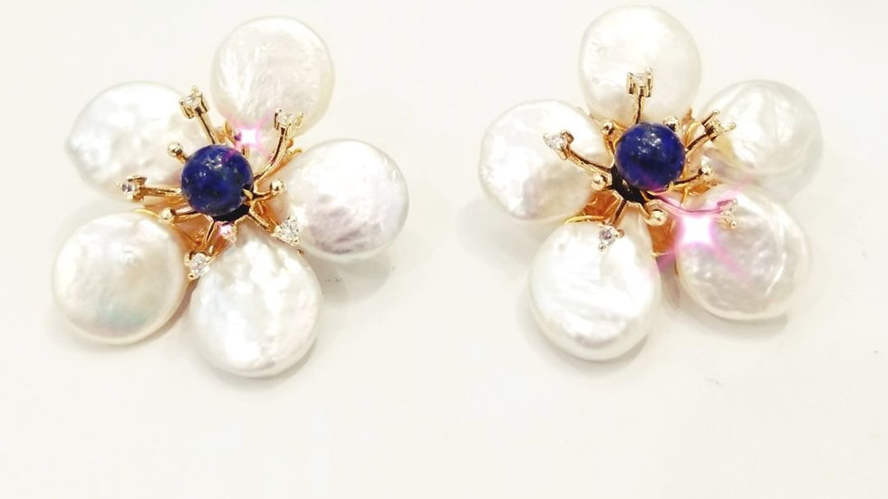 Handmade flower studs with pearls and lapis lazuli bead