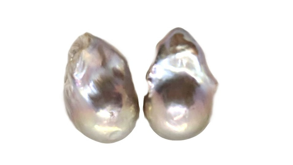 Grey Baroque Pearl Studs