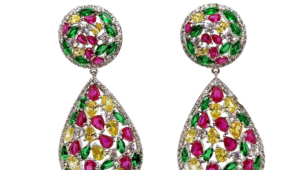 Drop earrings with 3 color stones