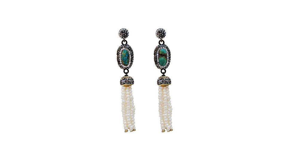Turquoise drop earrings with baby pearl tassel
