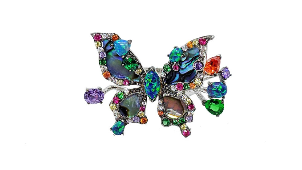 Bellezza Abalone Butterfly ring