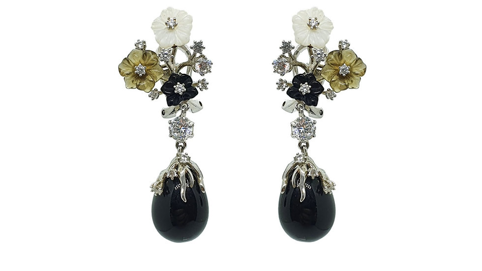 Onyx flower drop earrings