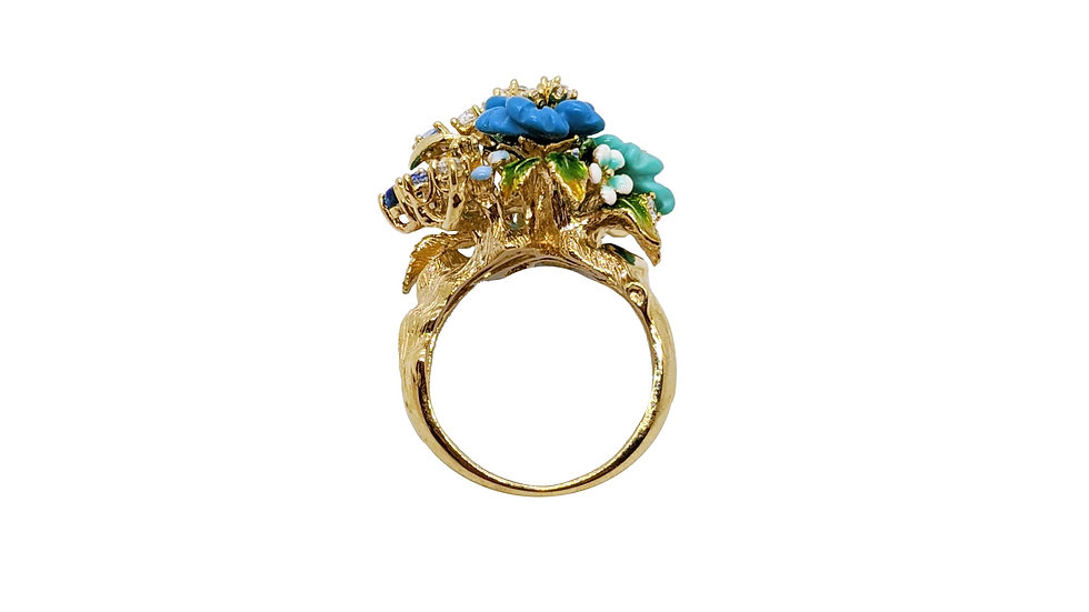 BELLEZZA Turquoise Flower Ring