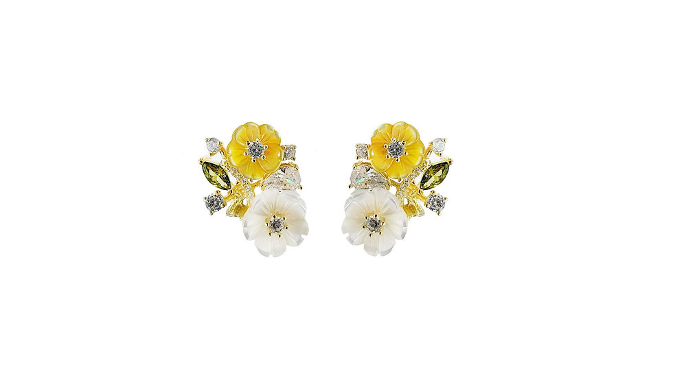 2 -tone flower earrings