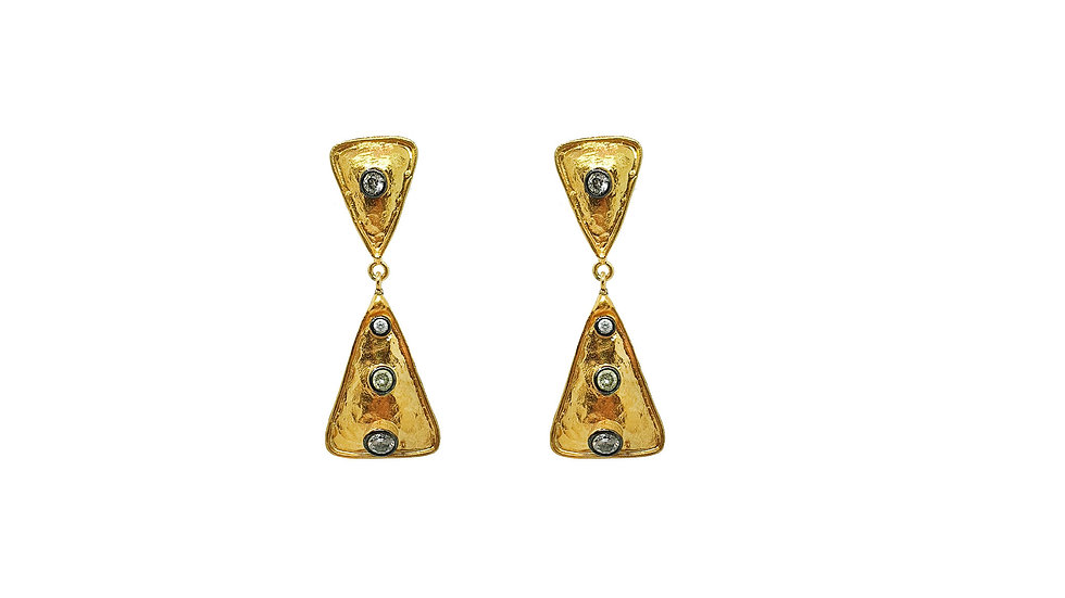 Gold Hammered Triangle earrings
