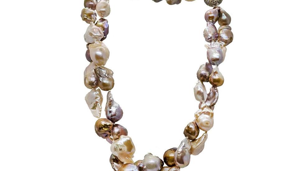 Multicolored Baroque Pearl Necklace- TWIST