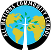 "All Nations Community School logo with tree/Cross in the middle, world continents in background, white letters spelling ""All Nations Community School"" in black circle around the logo"