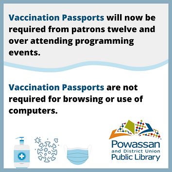 No vaccination passport needed for browsing or using computers. Passport needed to attend