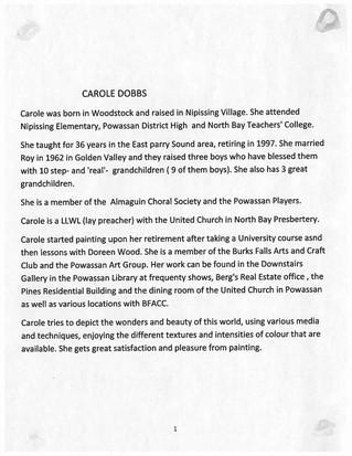 Carole Dobbs Exhibition