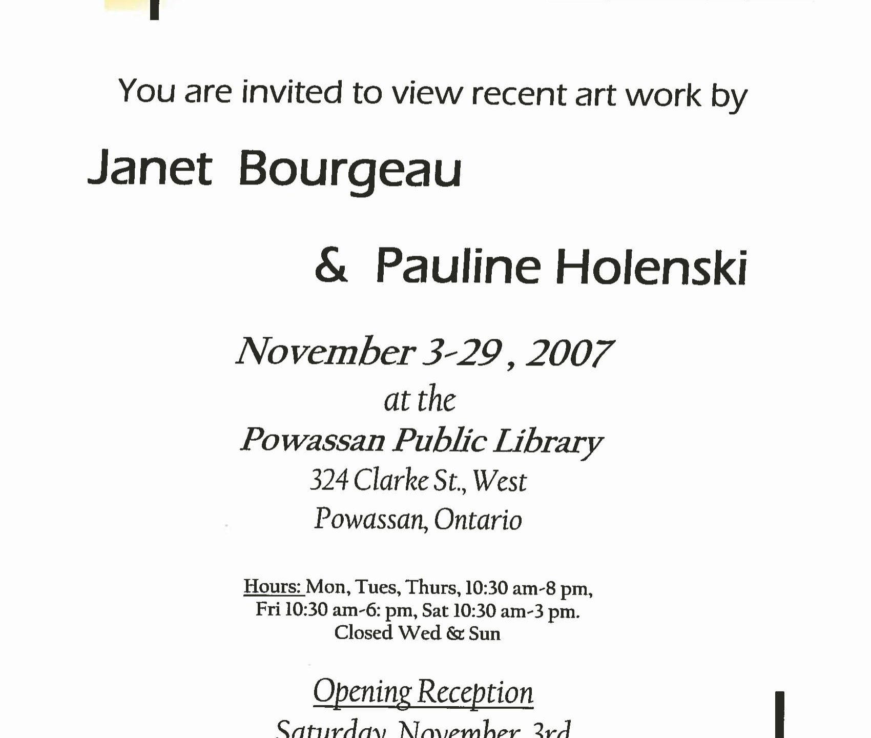 November 2007 - Pauline Holensky & Janet Bourgeau - Poster-1
