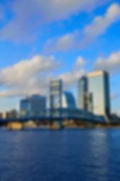 Jacksonville skyline evening with blue r