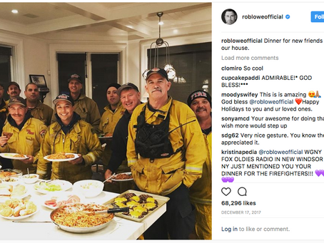 When Rob Lowe Thanked Local Firefighters with a Feast, He Emulated Douglas Fairbanks