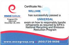 EPA universal certified Technicians
