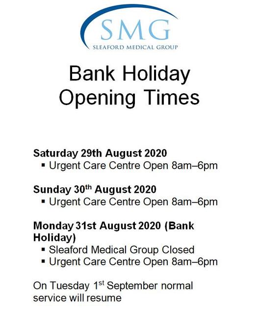 Bank Holiday – 31/08/2020