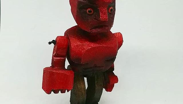 Hellboy in wood.
