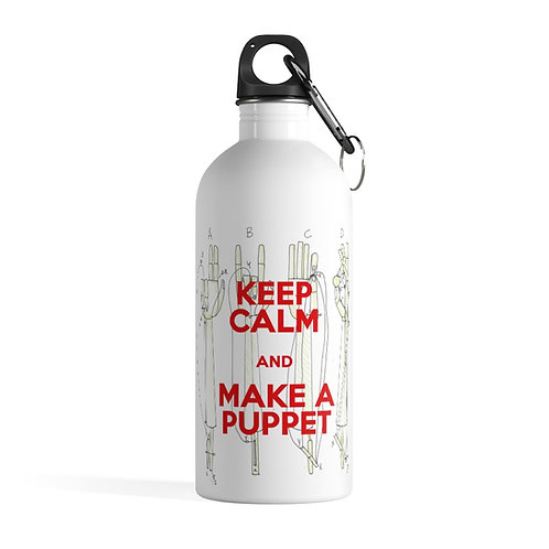 KEEP CALM and MAKE A PUPPET. Hands mechanism.Stainless Steel Water Bottle
