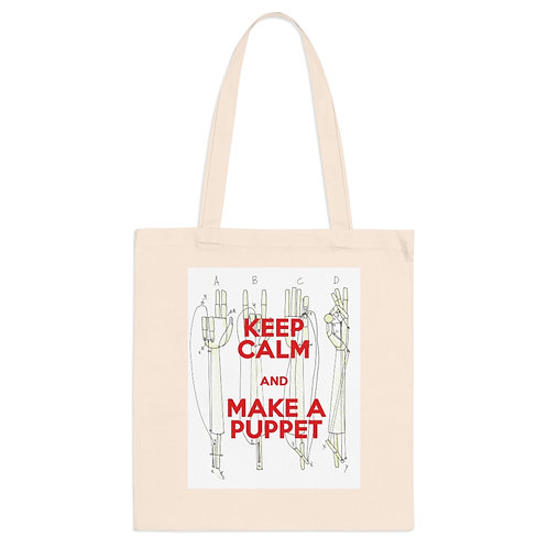 KEEP CALM and MAKE A PUPPET. Hands mechanism. Tote Bag