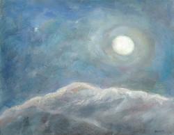 Full Moon Over Snowy Mountain