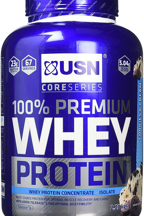 USN 100 Percent Premium Whey Protein Shake Powder, Cookies/Cream, 2.28 kg