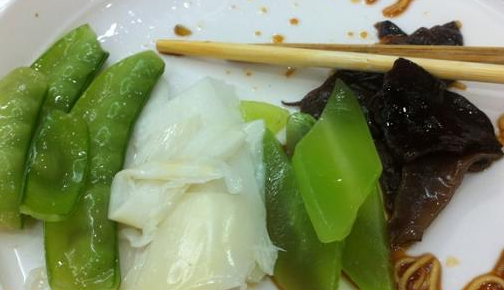 What we ate: bamboo shoots, pea pods, lotus roots, lettuce, mushrooms. What we didn't eat: tarantulas, scorpions, squid, shrimps, sharks.