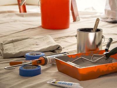 peinture, pinceaux, ciment joint, article peinture