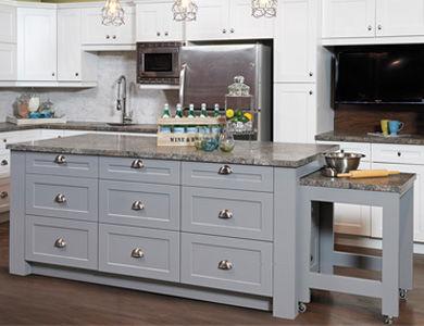armoires cuisine, armoires salle de bain, peinture armoires, cottage paint serenite, smart tiles