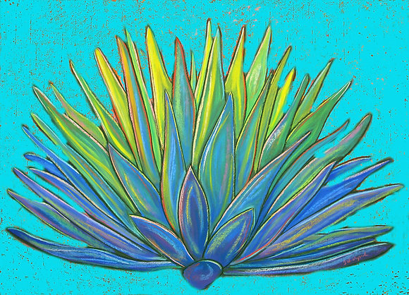 """Agave in Blue, 16"""" x 20"""""""