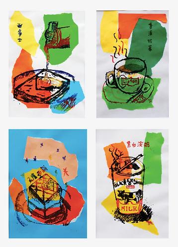 茶記食物 Cha Chang Tang - Set 1 (A set of 4 prints)