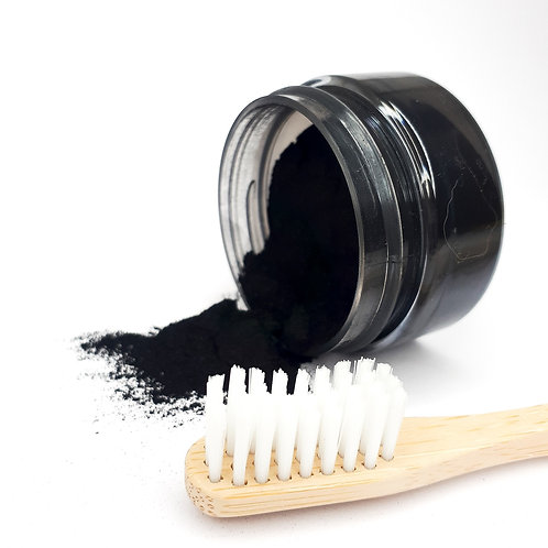 Activated Charcoal Teeth Whitening Powder & Eco Bru Bamboo Toothbrush