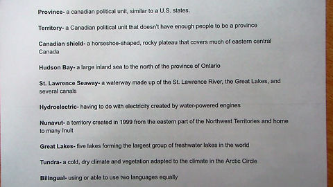 Canada Vocab List