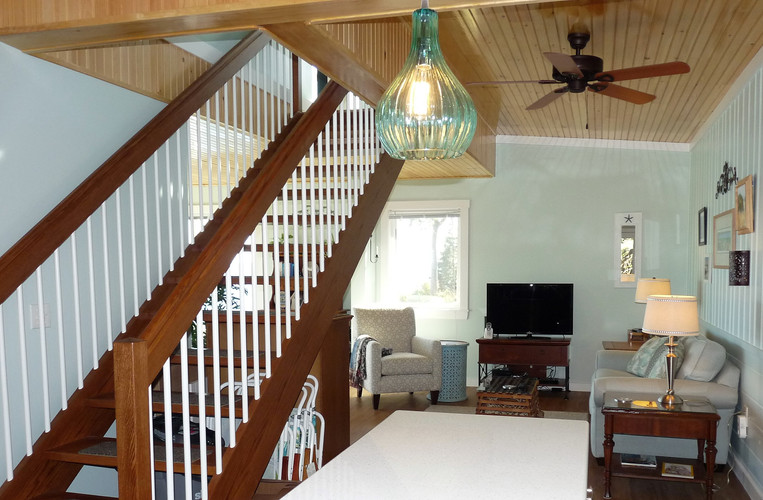 Seaside Cottage: Living Room & Staircase