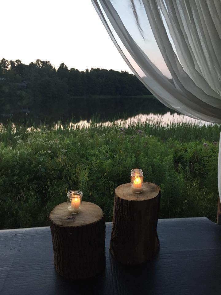 candlelight yoga by the lake