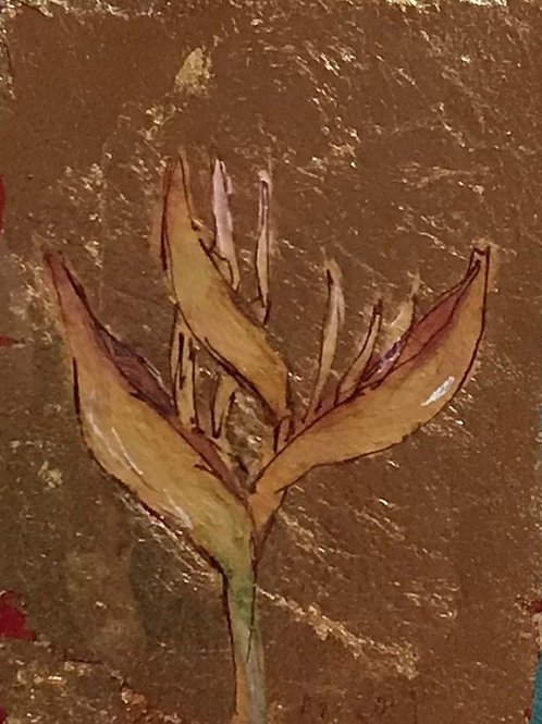 Bird of Paradise Flower: Oil on Gold Leaf