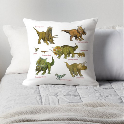 Triceratops and Gang Throw Pillow