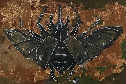 Stag Beetle: Oil on Gold Leaf