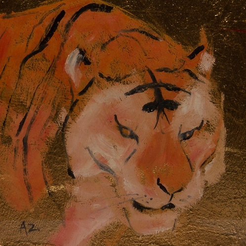 Tiger Oil on Gold Leaf