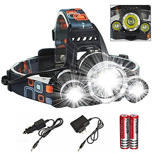 Headlamps Headlight Waterproof Rechargeable 6000 lm LED Emitters 1 Mode with Cha