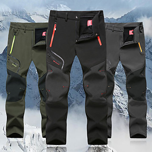 Men's Hiking Pants Softshell Pants Winter Outdoor Windproof Fleece Lining Breath