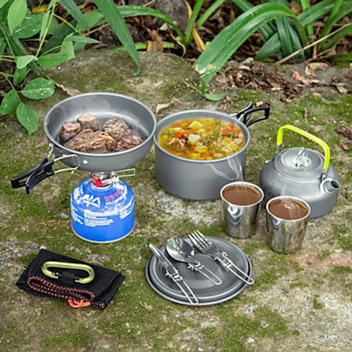 ARDI® Camping Cookware Mess Kit Camping Pot Dinnerware Set Pot Rack & Accessorie