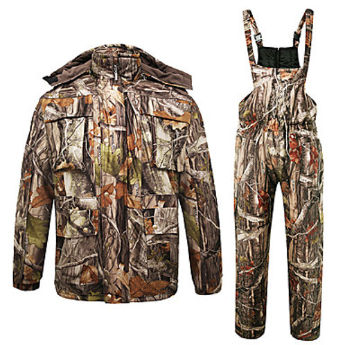 Men's Hunting Jacket with Pants Hunting Suit Outdoor Fleece Lining Warm Thick We