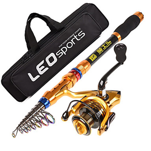 Fishing Rod and Reel Combo Telespin Rod 180/210/240/270/300/360 cm Carbon Telesc