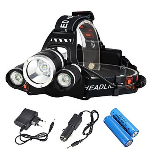 Boruit® RJ-3000 Headlamps Headlight LED LED 3 Emitters 3000/5000 lm 4 Mode with